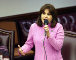 Sen. Annette Taddeo, D-Miami, speaks during a Senate special session concerning Florida Gov. Ron DeSantis' dismissal of Broward County Sheriff Scott Israel, Wednesday Oct. 23, 2019, in Tallahassee, Fla. (AP Photo/Steve Cannon)