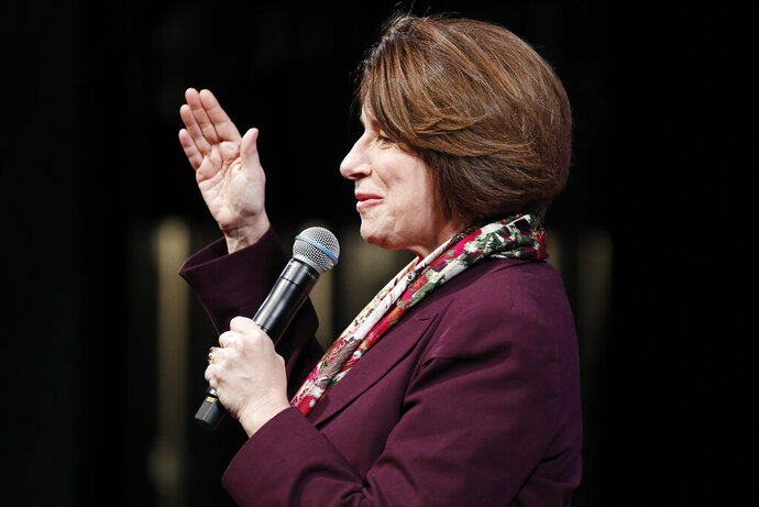 Democratic presidential candidate Sen. Amy Klobuchar, D-Minn., speaks at the LULAC Presidential Town Hall, Thursday, Feb. 13, 2020, in Las Vegas. (AP Photo/John Locher)