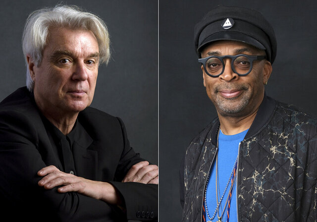 """This combination photo shows musician David Byrne, left, and director Spike Lee. Lee's filmed version of Byrne's """"American Utopia"""" will kick off the 45th Toronto International Film Festival. The Canadian festival said Tuesday that """"American Utopia"""" will premiere on September 10 in Toronto, even if it remains unclear if it will be a physical screening. That, the festival noted, will be contingent on the dictates of Ontario health officials. (AP Photo)"""