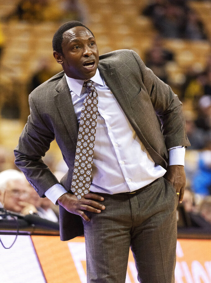 Alabama head coach Avery Johnson watches a free throw during the second half of an NCAA college basketball game against Missouri, Wednesday, Jan. 16, 2019, in Columbia, Mo. Alabama won the game 70-60. (AP Photo/L.G. Patterson)