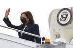 U.S. Vice President Kamala Harris arrives in Singapore Sunday, Aug. 22, 2021. Harris is on a tour of Southeast Asia, where she will attempt to reassure allies of American resolve following the chaotic end of a two-decade war. (Evelyn Hockstein/Pool Photo via AP)