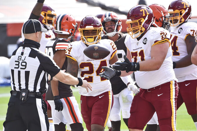 Washington Football Team running back Antonio Gibson celebrates during the second half of an NFL football game against the Cleveland Browns, Sunday, Sept. 27, 2020, in Cleveland. (AP Photo/David Richard)