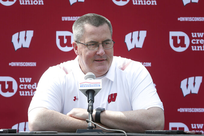 Wisconsin head football coach Paul Chryst talks to reporters during the team's NCAA college football media day at Camp Randall Stadium in Madison, Wis., Thursday, Aug. 5, 2021. (Kayla Wolf/Wisconsin State Journal via AP)