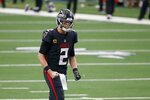 Atlanta Falcons quarterback Matt Ryan (2) celebrates after throwing a touchdown pass in the second half of an NFL football game against the Dallas Cowboys in Arlington, Texas, Sunday, Sept. 20, 2020. (AP Photo/Ron Jenkins)