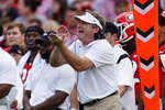 Georgia head coach Kirby Smart yells to his players on the field during the first half of an NCAA college football game against UAB, Saturday, Sept. 11, 2021, in Athens, Ga. (AP Photo/John Bazemore)