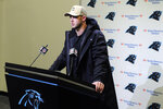 Carolina Panthers quarterback Kyle Allen speaks to members of the media following an NFL football game against the Atlanta Falcons in Charlotte, N.C., Sunday, Nov. 17, 2019. (AP Photo/Mike McCarn)