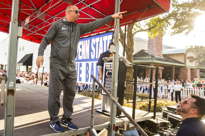 Penn State coach James Franklin waves to fans at the Citrus Bowl college football game pep rally in Orlando, Fla., Monday, Dec. 31, 2018. (Joe Hermitt/The Patriot-News via AP)