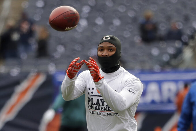 Chicago Bears wide receiver Taylor Gabriel warms up before an NFL wild-card playoff football game against the Philadelphia Eagles Sunday, Jan. 6, 2019, in Chicago. (AP Photo/Nam Y. Huh)