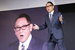 Akio Toyoda, president of Toyota Motor Corp., speaks during Toyota's presentation of the media preview of the Tokyo Motor Show Wednesday, Oct. 23, 2019, in Tokyo. (AP Photo/Kiichiro Sato)
