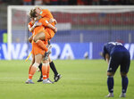 Dutch players celebrate after the Women's World Cup round of 16 soccer match between the Netherlands and Japan at the Roazhon Park, in Rennes, France, Tuesday, June 25, 2019. The Netherlands won the match 2-1. (AP Photo/David Vincent)