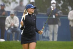 Matilda Castren, of Finland, reacts after making the final putt at the Lake Merced Golf Club to win the LPGA Mediheal Championship golf tournament, Sunday, June 13, 2021, in Daly City, Calif. (AP Photo/Tony Avelar)