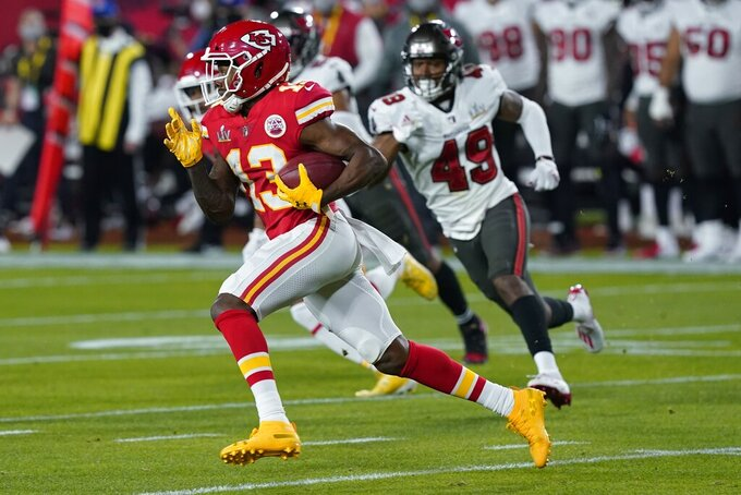 Kansas City Chiefs wide receiver Byron Pringle runs against the against the Tampa Bay Buccaneers during the first half of the NFL Super Bowl 55 football game Sunday, Feb. 7, 2021, in Tampa, Fla. (AP Photo/Mark Humphrey)