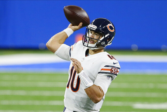 Chicago Bears quarterback Mitchell Trubisky throws against the Detroit Lions in the first half of an NFL football game in Detroit, Sunday, Sept. 13, 2020. (AP Photo/Duane Burleson)