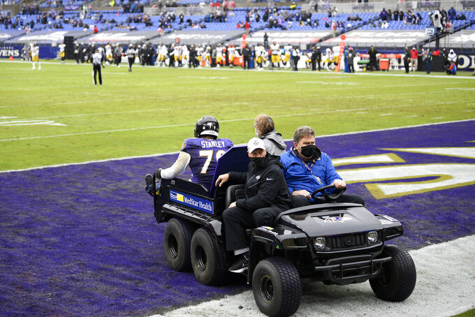 Baltimore Ravens offensive tackle Ronnie Stanley is carted off the field during the first half of an NFL football game against the Pittsburgh Steelers, Sunday, Nov. 1, 2020, in Baltimore. (AP Photo/Nick Wass)