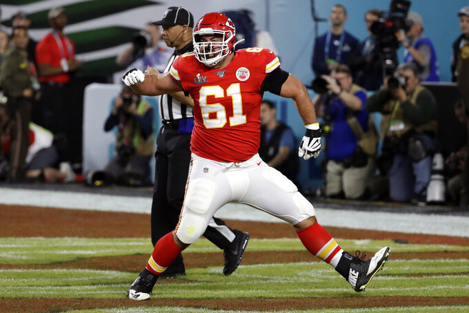 FILE - In this Feb. 2, 2020, file photo, Kansas City Chiefs offensive guard Stefen Wisniewski (61) reacts during the first half of the NFL Super Bowl 54 football game in Miami Gardens, Fla. The Pittsburgh Steelers officially signed the well-traveled Wisniewski to a two-year deal on Wednesday, March 25, 2020, bringing the veteran offensive lineman to his hometown. (AP Photo/Seth Wenig, File)