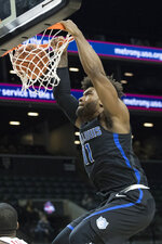 Saint Louis forward Hasahn French dunks during the second half of an NCAA college basketball game against Dayton in the Atlantic 10 Conference tournament, Friday, March 15, 2019, in New York. (AP Photo/Mary Altaffer)