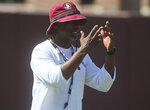 Florida State head coach Willie Taggart during an NCAA college football preseason practice Sunday, Aug. 4, 2019, in Tallahassee, Fla. Florida State's first game will be in Jacksonville, Fla., Aug. 31, 2019 against Boise State. (AP Photo/Phil Sears)