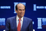 FILE - In this April 30, 2018, file photo,  financier Michael Milken leads a discussion at the Milken Institute Global Conference in Beverly Hills, Calif. (AP Photo/Jae C. Hong, File )