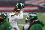 New York Jets quarterback Sam Darnold reacts after throwing an interception in the end zone in the second half of an NFL football game against the New England Patriots, Sunday, Jan. 3, 2021, in Foxborough, Mass. (AP Photo/Charles Krupa)