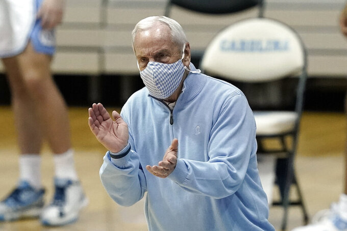 North Carolina head coach Roy Williams reacts during the second half of an NCAA college basketball game against Notre Dame in Chapel Hill, N.C., Saturday, Jan. 2, 2021. (AP Photo/Gerry Broome)