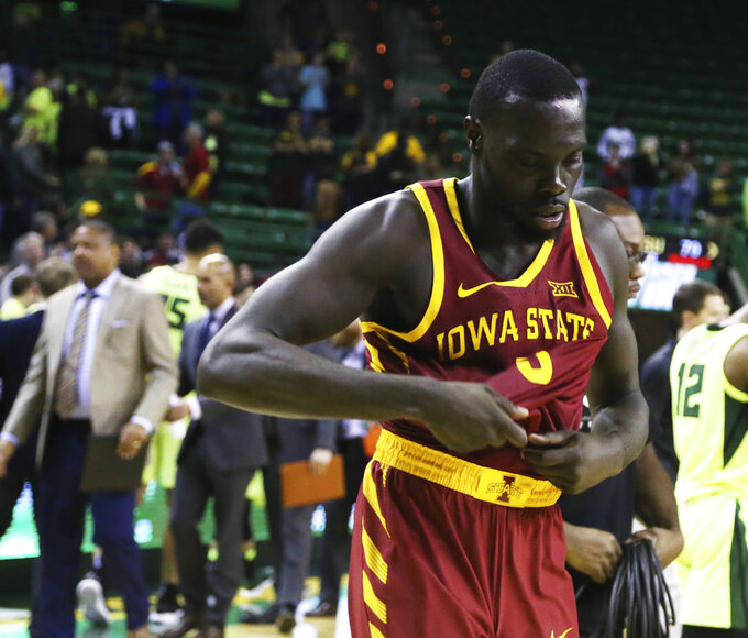 Iowa State guard Marial Shayok leaves the court following the team's NCAA college basketball game against Baylor, Tuesday, Jan. 8, 2019, in Waco, Texas. Baylor won 73-70. (AP Photo/Rod Aydelotte)