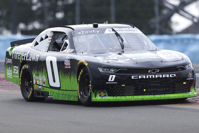 Jeffrey Earnhardt drives between Turn 1 and the Esses in the NASCAR Xfinity Series auto race at Watkins Glen International in Watkins Glen, N.Y., on Saturday, Aug. 7, 2021. (AP Photo/Joshua Bessex)
