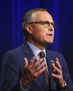 Republican candidate for Georgia Governor Lt. Gov. Casey Cagle speaks during an Atlanta Press Club debate against Secretary of State Brian Kemp at Georgia Public Television Thursday, July 12, 2018, in Atlanta. The two will face each other July 24 in a runoff election for the Republican nomination. (AP Photo/John Bazemore)