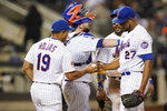 New York Mets manager Luis Rojas (19) takes the ball from relief pitcher Jeurys Familia (27) during the eighth inning of the team's baseball game against the St. Louis Cardinals on Tuesday, Sept. 14, 2021, in New York. (AP Photo/Frank Franklin II)