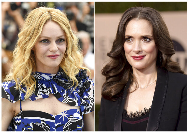 "This combination photo shows French model-actress and singer Vanessa Paradis, left, and actress Winona Ryder, two former romantic partners of actor Johnny Depp who have defended him as part of his libel suit against British newspaper The Sun. Paradis and Ryder offered statements saying the ""Pirates of the Caribbean'' star never was violent or abusive toward them. Depp is suing the tabloid's publisher over an April 2018 article which referred to the 56-year-old as a ""wife-beater."" (AP Photo)"