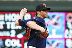 Minnesota Twins pitcher Charlie Barnes throws to a Milwaukee Brewers batter during the first inning of a baseball game Saturday, Aug. 28, 2021, in Minneapolis. (AP Photo/Jim Mone)