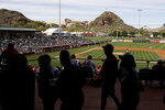 Fans watch a spring training baseball game between the Los Angeles Angels and the San Diego Padres, Thursday, Feb. 27, 2020, in Tempe, Ariz. (AP Photo/Darron Cummings)