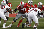FILE - In this Nov. 7, 2020, file photo, Ohio State offensive lineman Josh Myers blocks against Rutgers during an NCAA college football game in Columbus, Ohio. The Green Bay Packers selected Myers in the second round of the NFL draft Friday, April 30, 2021. (AP Photo/Jay LaPrete, File)