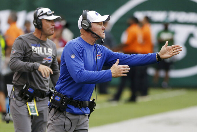 Buffalo Bills head coach Sean McDermott calls out to his team during the first half of an NFL football game against the New York Jets Sunday, Sept. 8, 2019, in East Rutherford, N.J. (AP Photo/Seth Wenig)