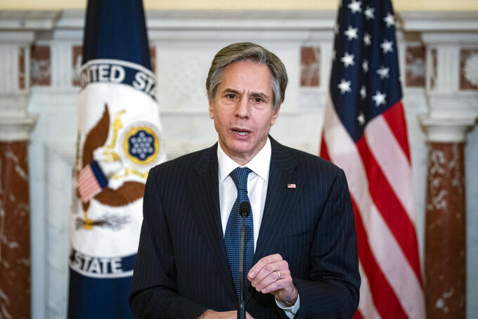 FILE - This Monday, April 5, 2021 file photo shows Secretary of State Antony Blinken during a news conference at the State Department in Washington. In March 2021, Blinken gave both the Taliban and the Afghan government an eight-page proposed peace plan, which they were to discuss, revise and review and come to Turkey ready to cobble together an agreement. But on Monday, April 12, 2021, Taliban spokesman Mohammad Naeem said the religious militia won't attend a peace conference tentatively planned for later in the week in Turkey, putting U.S. efforts to get a peace plan anytime soon in jeopardy. (Al Drago/Pool via AP)