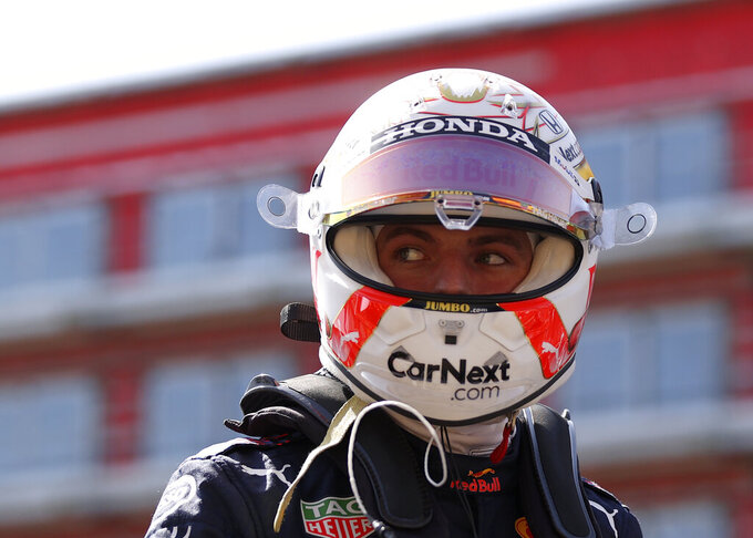 Red Bull driver Max Verstappen of the Netherlands prepares for the Sprint Qualifying of the British Formula One Grand Prix, at the Silverstone circuit, in Silverstone, England, Saturday, July 17, 2021. The British Formula One Grand Prix will be held on Sunday. (Lars Baron/Poolvia AP)