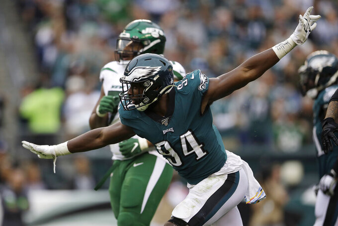 Philadelphia Eagles' Josh Sweat celebrates after sacking New York Jets' Luke Falk during the second half of an NFL football game, Sunday, Oct. 6, 2019, in Philadelphia. (AP Photo/Matt Rourke)