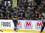 Buffalo Sabres forward Victor Olofsson (68) celebrates his goal during the second period of an NHL hockey game against the Dallas Stars, Monday, Oct. 14, 2019, in Buffalo N.Y. (AP Photo/Jeffrey T. Barnes)