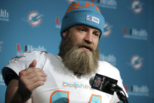 FILE - In this Dec. 29, 2019, file photo, Miami Dolphins quarterback Ryan Fitzpatrick speaks to the media following an NFL football game against the New England Patriots in Foxborough, Mass. Quarterback facial hair is sure to be front and center when the Jacksonville Jaguars (1-1) host the Miami Dolphins (0-2) on Thursday night, Sept. 24, 2020. Miami's Ryan Fitzpatrick has a bushy beard that covers much of his face and engulfs his chin strap; Jacksonville's Gardner Minshew has a unkept horseshoe mustache that seems to go perfectly with his flowing locks. (AP Photo/Charles Krupa, File)