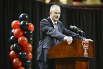 FILE - In this Dec. 1, 2018, file photo, Texas Tech's new head football coach Matt Wells speaks during his introductory news conference, in Lubbock, Texas. Wells took over after Texas Tech fired Kliff Kingsbury, the former Red Raiders quarterback who was 35-40 overall in six seasons coaching his alma mater. He has since become head coach of the NFL's Arizona Cardinals. Wells was 44-34 the past six seasons at Utah State, his alma mater.(Abbie Burnett/Lubbock Avalanche-Journal via AP, File)