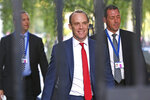 Britain's Foreign Secretary Dominic Raab arrives for a Cabinet meeting at 10 Downing Street in London, Tuesday Oct. 8, 2019. Britain and the European Union appeared to be poles apart Monday on a potential Brexit deal. (Stefan Rousseau/PA via AP)