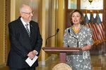 House Speaker Nancy Pelosi of Calif., speaks as she welcomes Israeli President Reuven Rivlin to the U.S. Capitol in Washington, Monday, June 28, 2021. (AP Photo/Manuel Balce Ceneta)