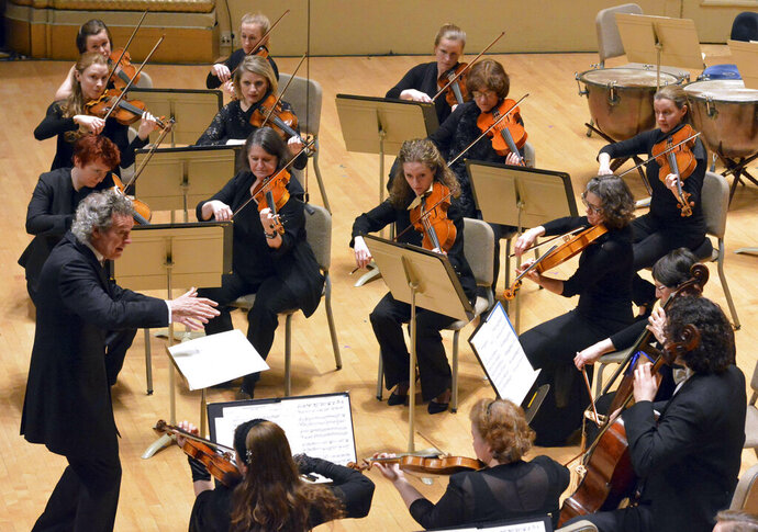 In this May 5, 2019 photo, the Handel & Haydn Society performs its rendition of Mozart's