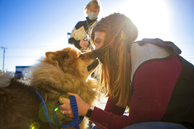 Melissa Buescher gives a kiss to her chow Leo after being reunited with him on Friday, Nov. 20, 2020, at Yellowstone Valley Animal Shelter in Billings, Mont. Buescher flew from Minneapolis to reunite with her dog after he got lost during an early October hike near Mystic Lake in the Beartooth Mountains. (Ryan Berry/The Billings Gazette via AP)