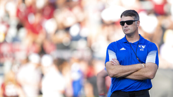 Eastern Illinois head coach Adam Cushing looks on during the first half of an NCAA college football game against South Carolina, Saturday, Sept. 4, 2021, at Williams-Brice Stadium in Columbia, S.C. (AP Photo/Hakim Wright Sr.)
