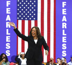 U.S. Senator Kamala D. Harris, D-California, takes the stage for a campaign rally at Morehouse College on Sunday, March 24, 2019, in Atlanta. The Democratic candidate for president is at least the fifth presidential candidate to visit Georgia in the 2020 cycle.(Curtis Compton/Atlanta Journal-Constitution via AP)