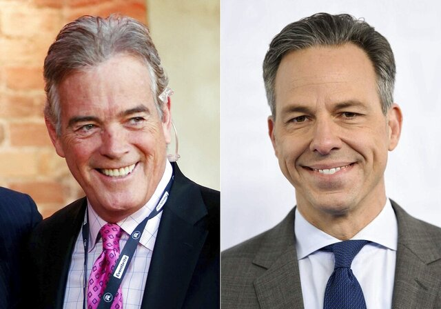 This combination photo shows Fox News senior national correspondent John Roberts at the CBS News Republican presidential debate in Greenville, S.C. on Feb. 13, 2016, left, and CNN news anchor Jake Tapper at the WarnerMedia Upfront in New York on May 15, 2019. Both Fox and CNN announced schedule changes on Monday, Jan. 11, 2021. CNN'sTapper and Fox's Roberts are among those taking on new roles. Roberts will co-anchor a daily news show from 1 to 3 p.m. Eastern with Sandra Smith starting Monday. Tapper's daily news show will increase an hour, running from 4 p.m. to 6 p.m. (AP Photo)