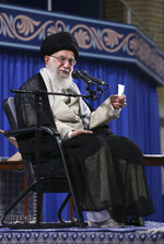 In this photo released on Wednesday, May 22, 2019 by the official website of the office of the Iranian supreme leader, Supreme Leader Ayatollah Ali Khamenei speaks to a group of students in Tehran, Iran. Khamenei publicly chastised the country's moderate president and foreign minister Wednesday, saying he disagreed with the implementation of the 2015 nuclear deal they had negotiated with world powers. (Office of the Iranian Supreme Leader via AP)