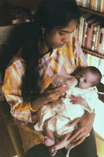 In this undated photo provided by the Kamala Harris campaign in April 2019, Shyamala Gopalan Harris, 25, holds her baby, Kamala. (Kamala Harris campaign via AP)
