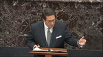 In this image from video, personal attorney to President Donald Trump, Jay Sekulow, speaks during closing arguments in the impeachment trial against Trump in the Senate at the U.S. Capitol in Washington, Monday, Feb. 3, 2020. (Senate Television via AP)