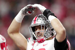 Ohio State tight end Jeremy Ruckert celebrates after scoring a touchdown during the second half of the Big Ten championship NCAA college football game against Wisconsin, Saturday, Dec. 7, 2019, in Indianapolis. (AP Photo/Michael Conroy)